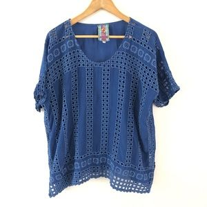 Johnny Was Blue Rayon Eyelet Tunic